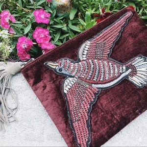 Sam Edelman Wine Velvet Beaded Embroidered Clutch